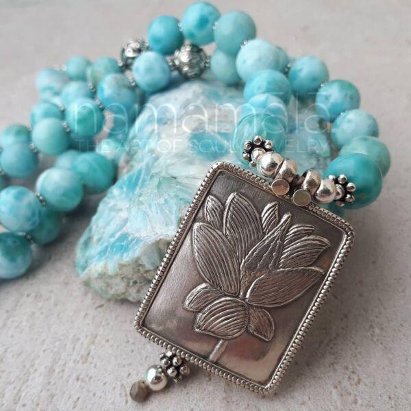 japamala larimar fiore di loto argento